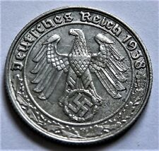 1938 WW2 NAZI ERA ORIGINAL GERMAN COIN 50 REICHSPFENNIG ( F )  GOOD GRADE