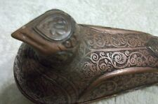 old Antique Copper metal BIRD STATUE Box ~Footed Carved~ Covered Hen Chicken odd