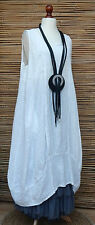 LAGENLOOK LINEN AMAZING 2 POCKETS LONG TUNIC-DRESS*WHITE*SIZE L-XL-XXL BUST 52""
