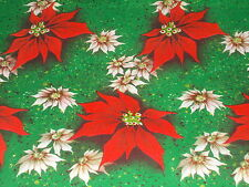 VTG CHRISTMAS WRAPPING PAPER GIFT WRAP 1950 GREEN WITH RED AND WHITE POINSETTIA