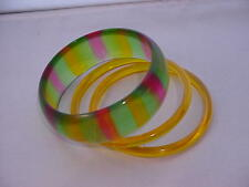 Vintage  Lucite Bangle Bracelets Translucent Green Pink Gold Striped 1960's