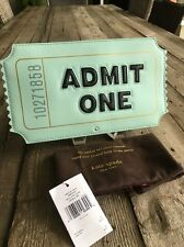 "Kate Spade New York ""ADMIT ONE"" Ticket Aqua Leather Clutch, NWT"