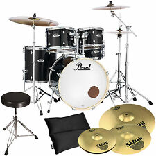 Pearl Export EXX725SZ/C31 Black + Sabian Becken Set + Hocker
