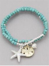 Turquoise Bead Comfort Wear Silver Tone Starfish Pearl Coastal Stretch Bracelet