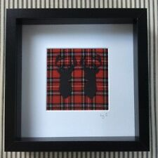 SCOTTISH RED WOOL TARTAN STAGS HEAD PICTURE box frame 25x25cm WALL HANGING
