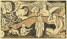 Gauguin Woodcuts: Be in Love and You will be Happy - Fine Art Print