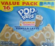 Dunkin Donuts Pop Tarts Frosted Vanilla Latte 16 Limited Edition Kelloggs Coffee