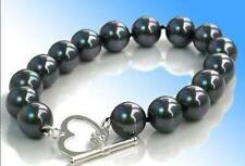 12mm black south sea shell pearl round beads bracelets 7.5 inches Heart Clasp