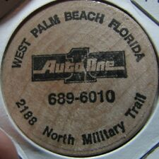 Vintage Auto One West Palm Beach, FL Wooden Nickel Token - Fla. Florida