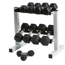 Dumbbell Weight Set With Rack CAP Barbell 150 lbs Solid Hex Exercise Gym Rubber