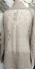 CHICO'S Lace Back Beige Long Open Cardigan Sweater 3 = L XL NEW