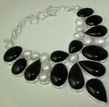 ELEGANT BLACK ONYX & PEARL .925 STERLING SILVER OVERLAY NECKLACE 142 GMS