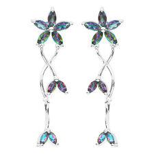 Natural Mystic Rainbow Topaz Earrings Stud Solid 925 Sterling Silver Multicolor