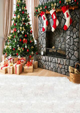 HOT Christmas Theme Xmas Tree Socks Studio Backdrop Photography Background 5x7FT
