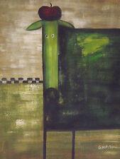 Huile sur Toile Large - Chien Stylé Vert - Contemporain Chambre Enfant