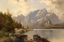 Fine Oil painting mountains and river landscape low price for sell don't miss it
