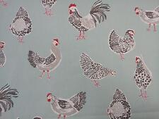 """Clarke et clarke coq turquoise poules tissu largeur 137cm/54"""""""