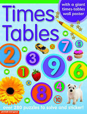 NEW  TIMES TABLES ( & GIANT TABLE WALL CHART) over 280 PUZZLES solve & STICKERS
