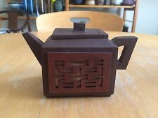 Chinese Yixing Zisha Red Clay Pierced Square Teapot Signed Marked