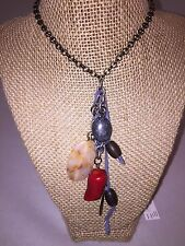"""NWT J Jill silver tone long Necklace with mixed beads 31"""""""