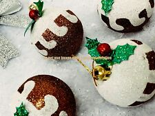 12 X GORGEOUS CHRISTMAS PUDDING BAUBLES TREE DECORATION