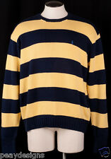Ralph Lauren Polo Mens Sweater Blue Yellow Striped Rugby 100% Cotton Sz XL