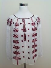 Etoile Isabel Marant White Red Peasant Top Blouse Boho Embroider Women's 40 RARE