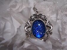 silver BLUE ROYAL sapphire GLITTER Dragons BREATH eye Necklace Pendant MEDIEVAL