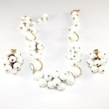 Hattie Carnegie White Bead Ball Glass Cluster Earring Necklace Set 17.5""
