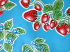 AQUA BLUE STRAWBERRY FOREVER RETRO OILCLOTH VINYL SEW CRAFT DECOR FABRIC BTY