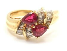 ESTATE 18k YELLOW GOLD SPARK DIAMOND + RUBY BYPASS RING