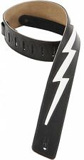 Levy's LIGHTNING BOLT Leather Guitar Strap BLACK DM2-BLK Ace Frehley Kiss Weezer