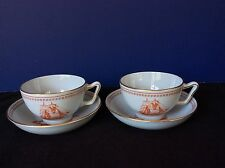 VTG COPELAND SPODE Trade Winds SET 2 Cups & Shallow Saucers RED SAIL BOATS SALEM