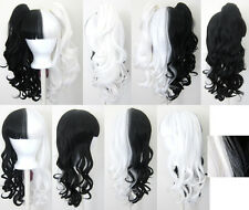 20'' Lolita Wig + 2 Pig Tails Set Half Black, White Split Cosplay Gothic Sweet