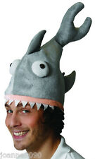 ADULT KIDS GREY SHARK JAWS FANCY DRESS COSTUME PLUSH NOVELTY PARTY HAT HALLOWEEN