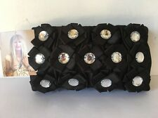Betsey Johnson NWT Black Sateen Jewel Rhinestone Evening Purse Clutch