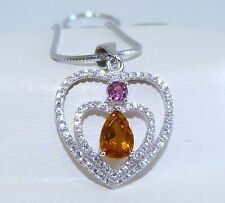 GENUINE! 0.73cts! Pink & Orange Tourmaline Solid Sterling Silver 925 Pendant!!