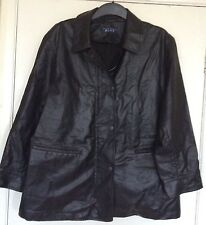 SIZE 16, STRENESSE BLUE, FAUX LEATHER BLACK JACKET/COAT, PLUS SIZE, PRE-LOVED