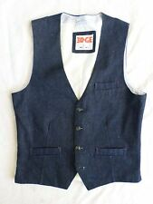EDGE WD NY unwashed denim button front suiting waistcoat vest MEDIUM
