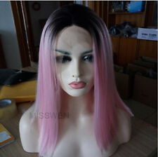 """14"""" Bob Straight Black And Pink Ombre Lace Front Wig Heat Resistant"""