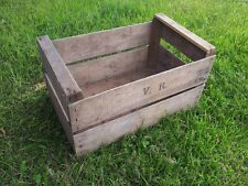VINTAGE FRENCH VR WOODEN FARM SOLID APPLE PEAR CRATE BUSHEL BOX ANTIQUE...