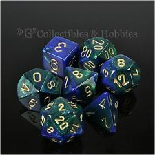 NEW 7pc Blue Green Gemini RPG Gaming Dice in Box D&D Game 7 piece Set Chessex