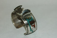 Vintage Johnie Frank Navajo Turquoise Coral Inlay Watch Cuff Sterling Silver