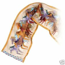Laurel Burch 100% Silk Oblong Scarf Beige Bronze Native Horses NWT