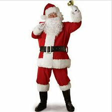 Santa Claus Mens Red Costume Christmas Suit Cosplay Hot New