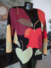 Northern Isles Huge Apples Design V Neck Sweater Blk Gold Red Lime  Boucle   XL