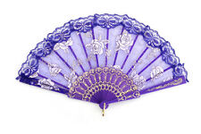P Elegant Wood Hand Fan Lace Surface Chinese Folding Flower Party Hand Fan