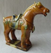 """VINTAGE CHINESE IMPERIAL TANG SANCAI GLAZE WAR HORSE FIGURINE 6-1/2"""" T"""