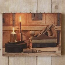 Primitive new LED carpenter's bench canvas print w/timer / nice