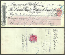 OSWALD MARSH CHEQUE 1905 LONDON CITY MIDLAND BANK STAMP DEALER ONE ANNA INDIA